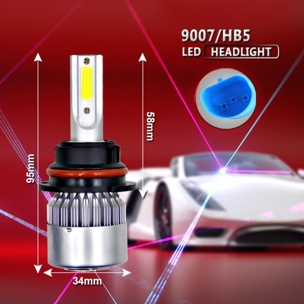 Dolity 1 Pair H7 H13 9005 9007 900W 135000LM COB LED Headlight Bulb 6000K White High Power HID White 9008