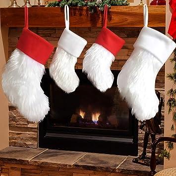Dremisland 4 Piezas Terciopelo Lujo Medias de Navidad Rojo y Blanco Calcetines de Felpa AdornosTradicional Colgando Medias de Navidad Ideal Decoración de la ...