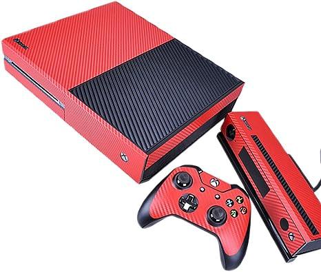 Pandaren® completos placas frontales Pegatinas de la piel para la consola Xbox One x 1 y el mando x 2 y kinect x 1(Las partículas de carbono de color rojo): Amazon.es: Videojuegos