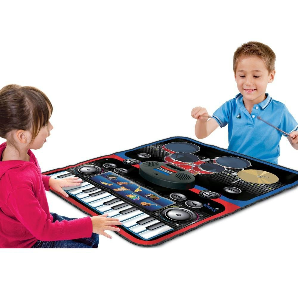 2-in-1 Functional Drum & Piano Foldable Music Mat with 5 Piece Drum, 2 Drum Sticks, 14 Demos, 24 Key Piano Keyboard with 8 Different Recordable Musical Instruments, Powerful Speakers with 3.5mm Aux Co by Toner Depot (Image #1)