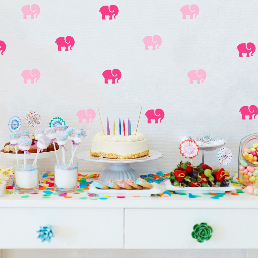 KoalaBear Brand Wall Decal Pink Elephants Peel & Stick Removable Wall Sticker For Children Nursery/Bedroom/Playroom, 27 PCS