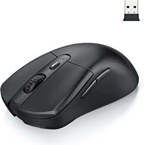 Bluetooth Mouse, Jelly Comb 2.4G USB Wireless Mouse Dual Mode Wireless Computer Mice Support 2 Devices for Mac OS/iOS/Windows/Android Laptop, Computer, Tablet, PC, Smart Phone-Black