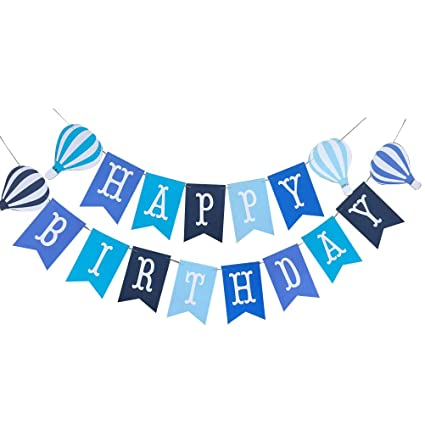 Amazon.com: Amosfun Cute Happy Birthday Banner Hot Air ...