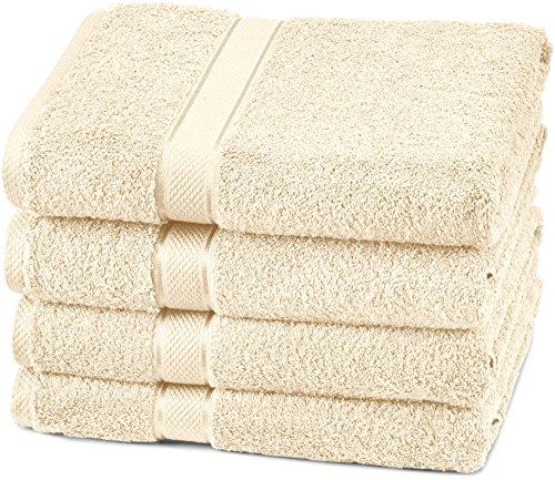 Pinzon Egyptian Cotton Bath Towel Set (4 Pack) – Cream