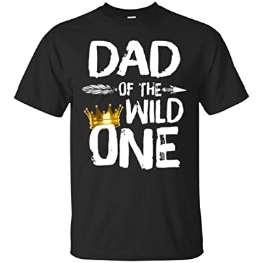 e30107a1 Amazon.com: Birthday T-Shirt Gift for Father Awesome Dad of The Wild One  Thing 1St Birthday: Clothing