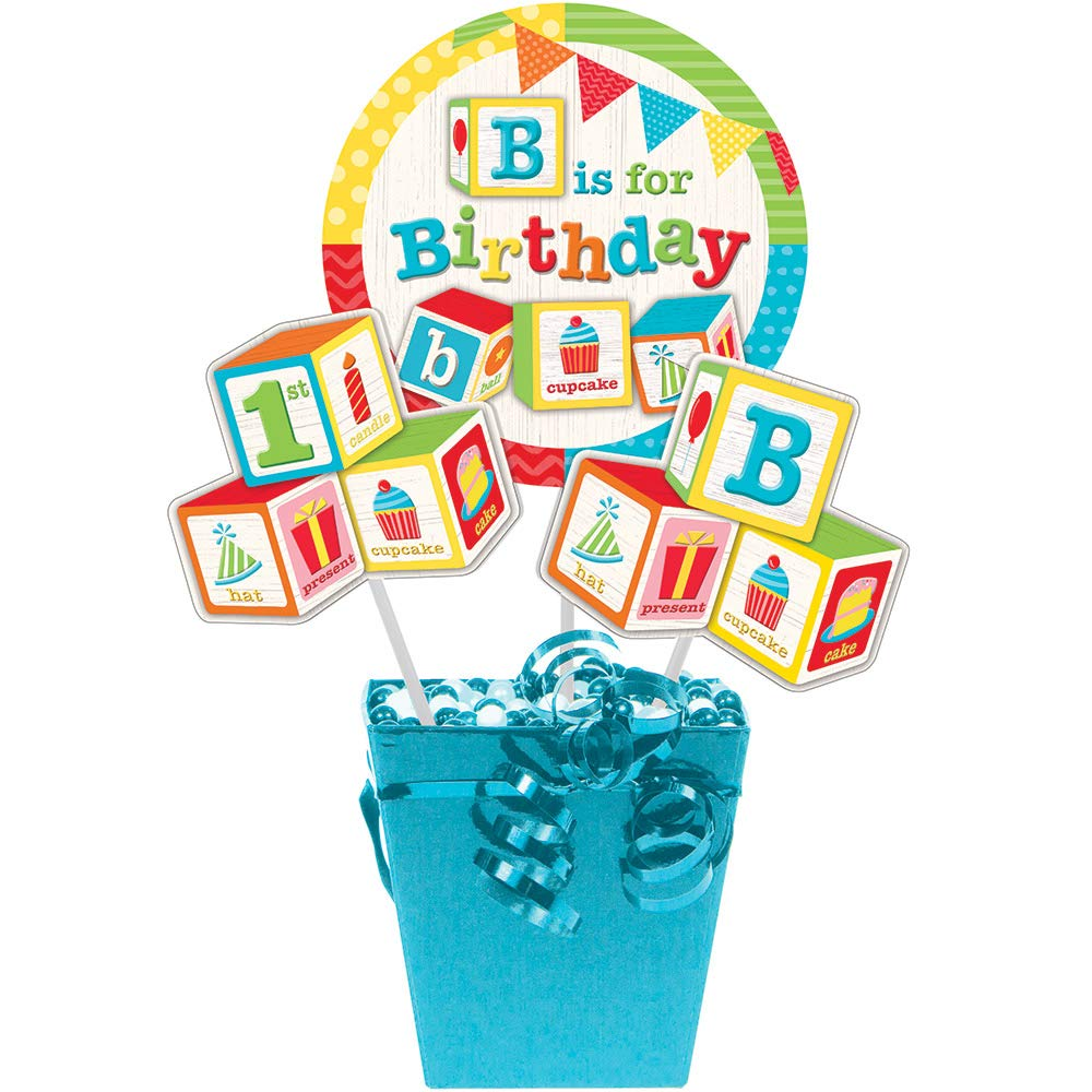 Club Pack of White and Blue Birthday Themed Centerpiece Sticks 17.12''