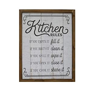 """NIKKY HOME 18"""" x 14"""" Rustic Farmhouse Wooden Framed Kitchen Rules Wall Sign Plaque"""