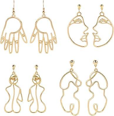 art earrings portrait earrings gold face earrings abstract earrings hollow face earrings face earrings