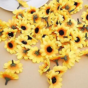 IETONE 100 Pieces Artificial Gerbera Daisy Flowers Heads for DIY Wreath Gift Box Scrapbooking Craft Wedding Party (Yellow Sunflower) 3