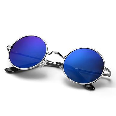 320ffd8e931886 Menton Ezil John Lennon Lunettes de Soleil Polarisé Cercle Style Hippie Rond  Petit Cru Pour hommes