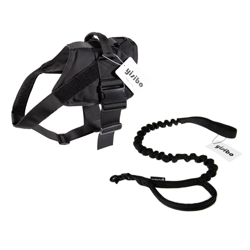 Black-Vest+Leash S Black-Vest+Leash S yisibo Tactical Patrol Dog Harness Vest K9 Working Dog Vest with Removable Middle Chest Strap Quick Release Buckle Durable Handle Dog Vest (S, Black-Vest+Leash)