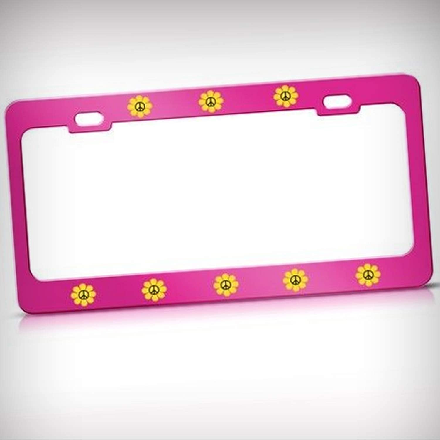 YELLOW DAISY PEACE FLOWER Metal License Plate Frame Tag Holder