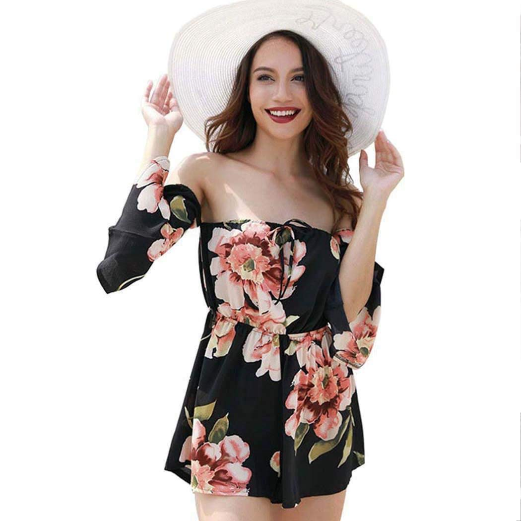 Black Women Summer Dress Off Shoulder Fit Comfy Floral Casual Jumpsuits & Rompers