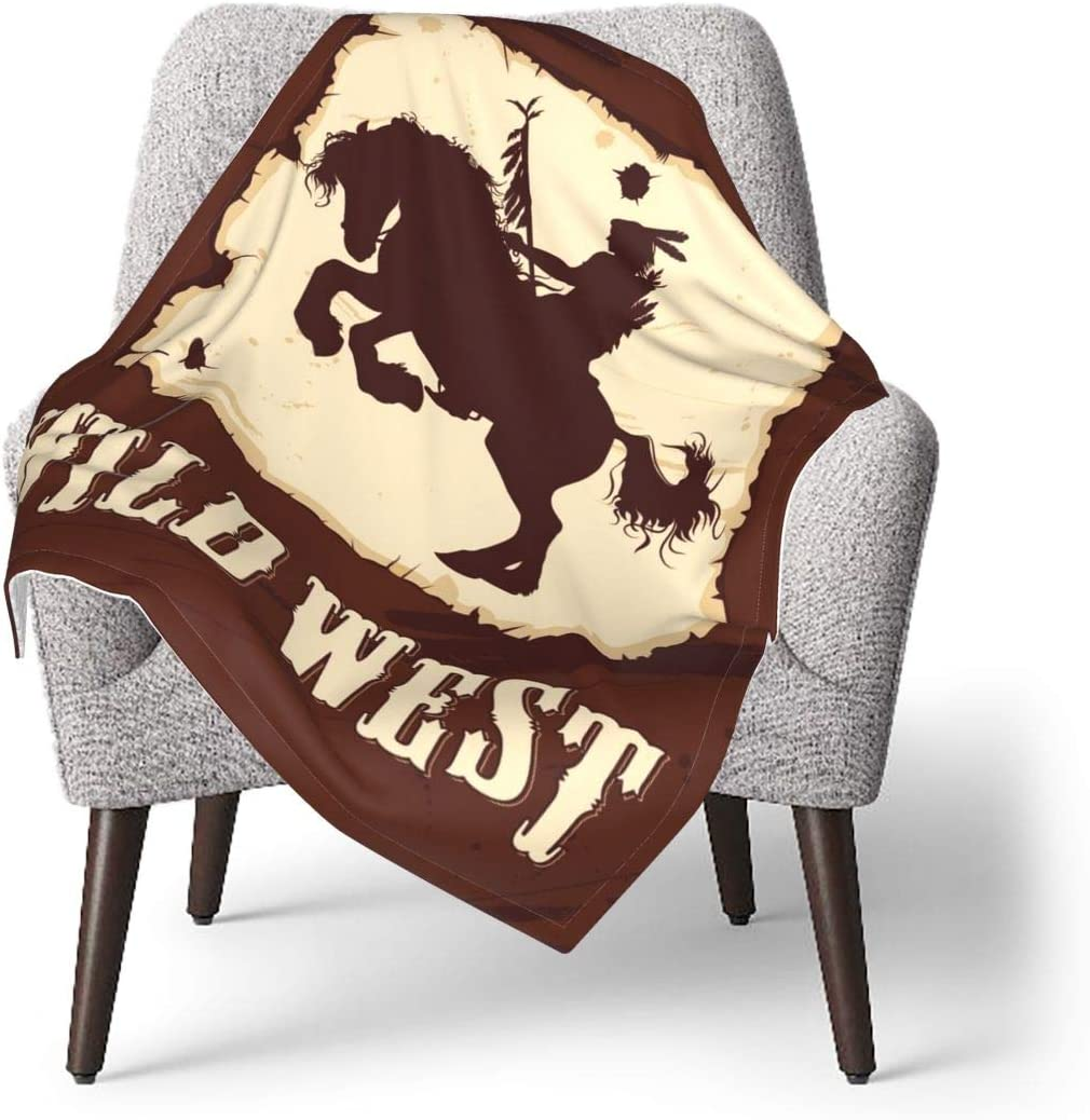 EADFZGFBDVXFVC salvaje oeste con indio a caballo bebé suave manta de forro polar manta de invierno para niñas niños ducha de baño