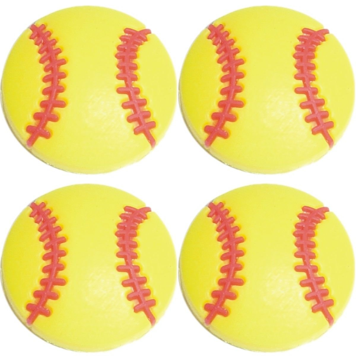 Four (4) of Yellow Softball Baseball Shoe Rubber Charms Jibbitz Croc Style SC870