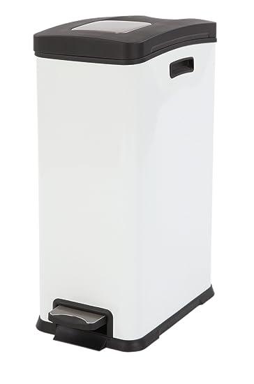 Amazon.com: EKO de basura con pedal, 30 litros, color blanco ...