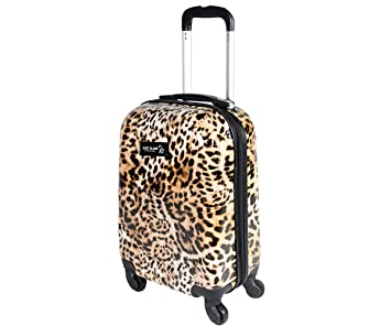 Maleta cabina 4 ruedas trolley cascara dura adecuadas para vuelos de bajo cost art leopardo: Amazon.es: Equipaje