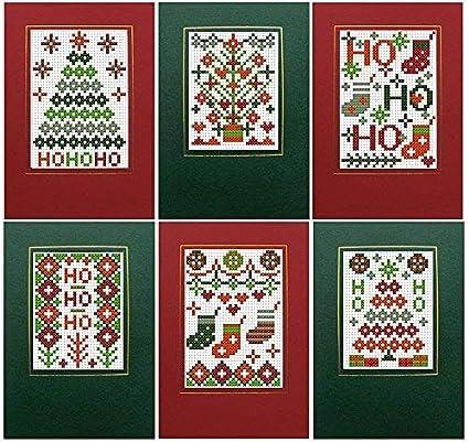 Biglietti Di Natale A Punto Croce.Biglietti Di Natale Motivo Punto Croce Colori Rosso E Verde Confezione Da 6 Pezzi