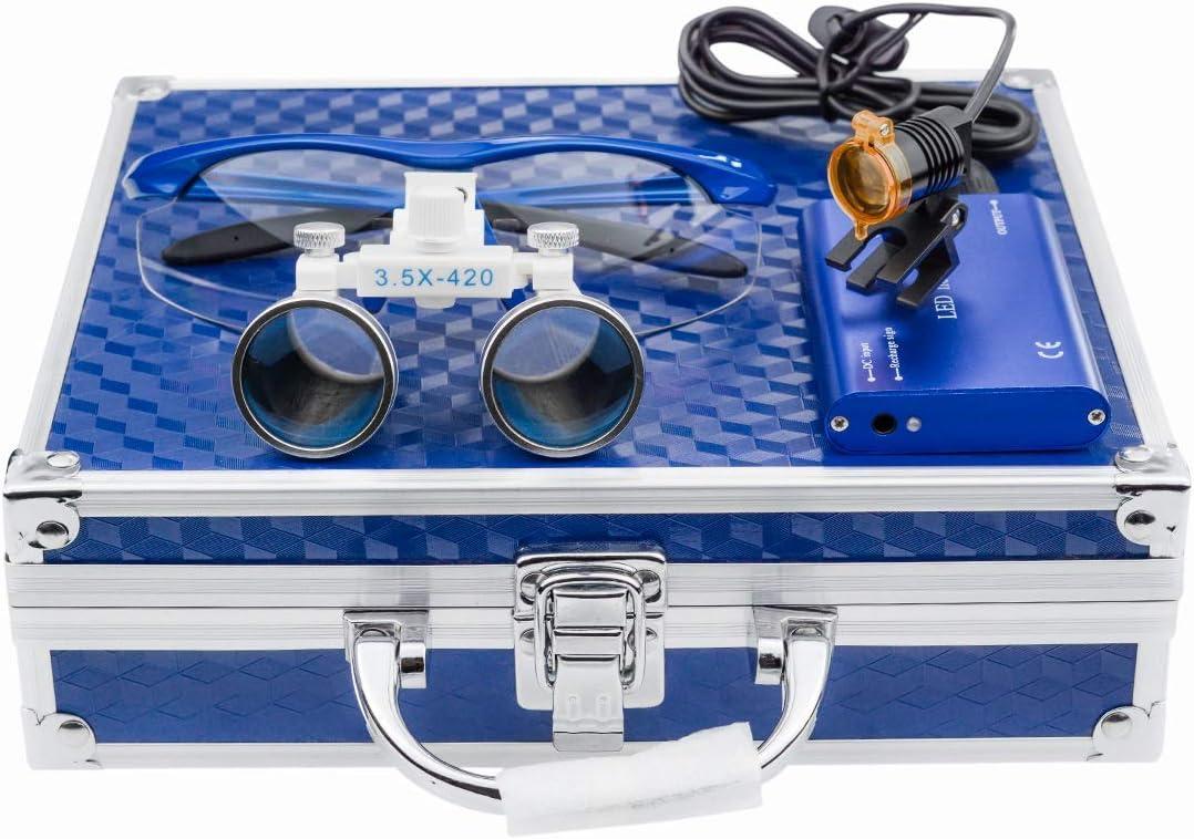 BONEW 3,5 lupas binoculares dentales + faro LED de 3 W con filtro + caja de aluminio azul
