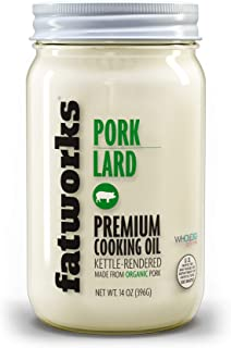 product image for Fatworks, Organic Free Range Pork Lard, NON-GMO, 100% Certified USDA Organic Ingredients, Great for everyday cooking, baking and frying, WHOLE30, KETO, PALEO, 14 oz