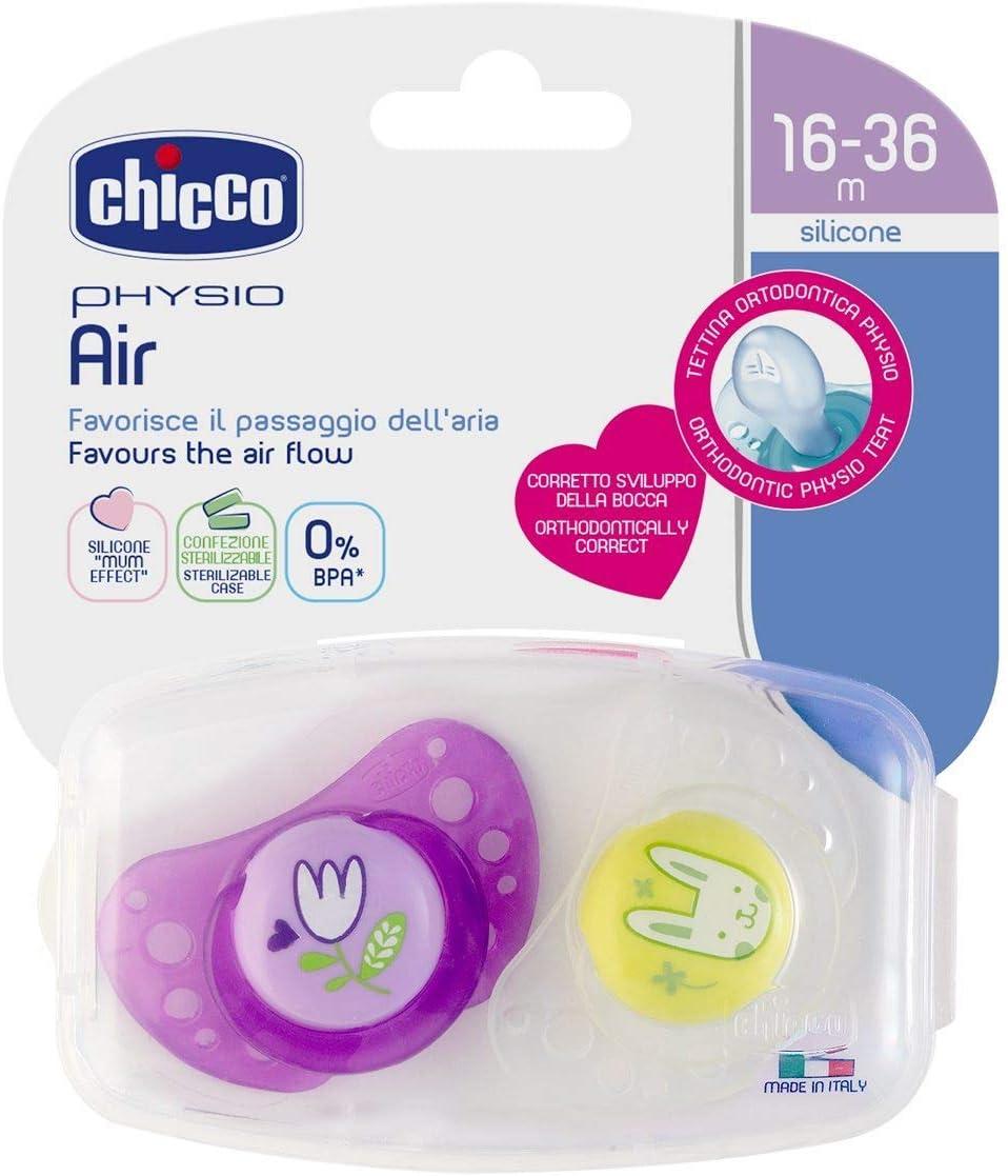 made in Italy GIRLS Lot de 6 avec 3 /étui de st/érilisation CHICCO sucette Day /& Night 16-36 mois Soft Silicone