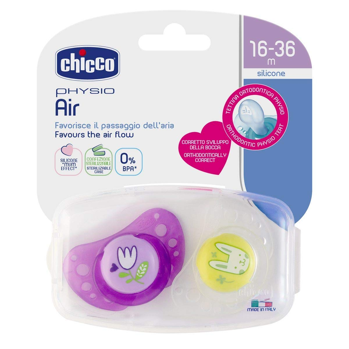Juedo de 6 con 3 esterilizable estuche de viaje CHICCO Day /& Night chupete Silicona 16-36 meses Girls made in Italy