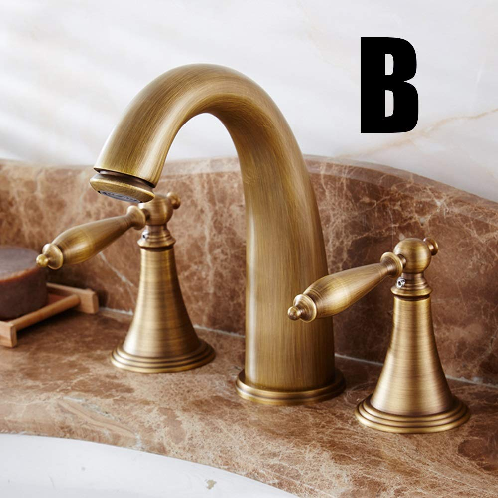 Durable European Style High end Copper Antique Faucet Retro Three-hole Under Counter Basin Faucet Green Ancient Hot And Cold Copper Wash Basin Faucet practical (Color : S)