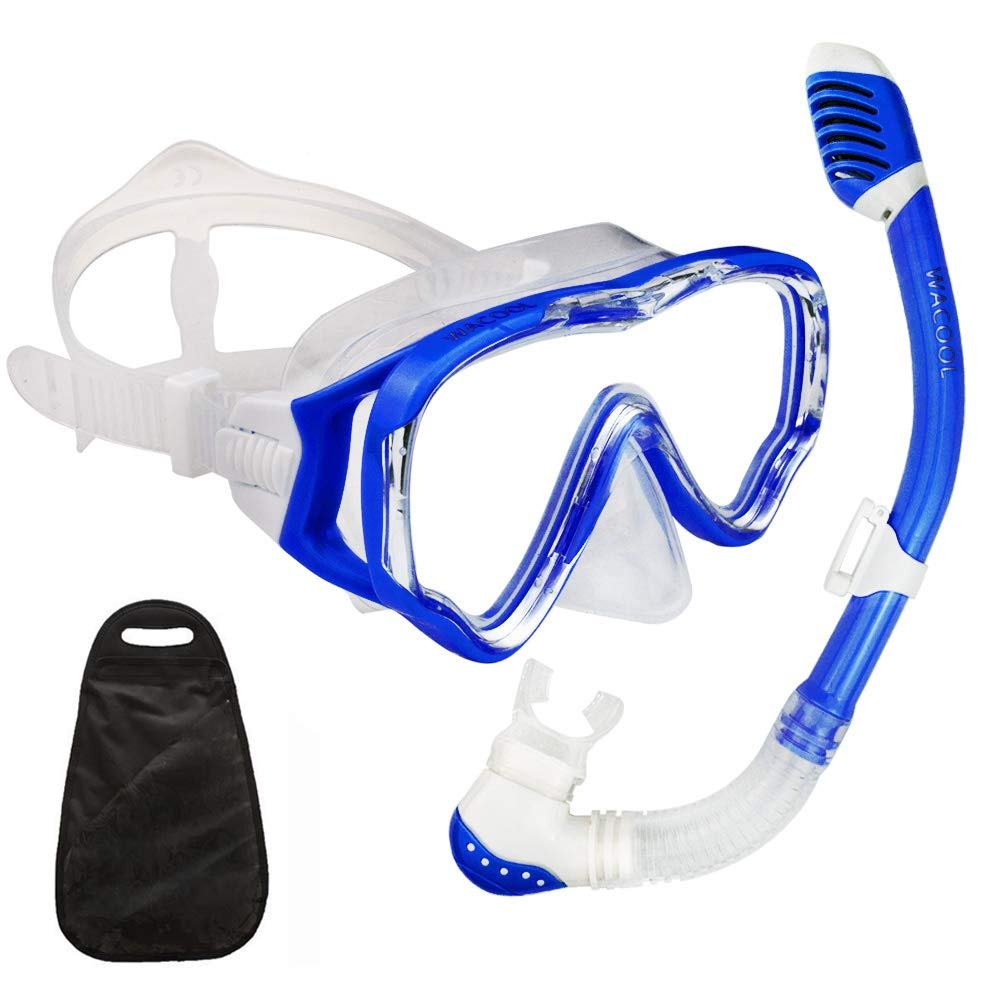 WACOOL Snorkeling Snorkel Package Set for Kids Youth Junior, Anti-Fog Coated Glass Diving Mask, Snorkel with Silicon Mouth Piece,Purge Valve and Anti-Splash Guard. (DarkBlue) by WACOOL