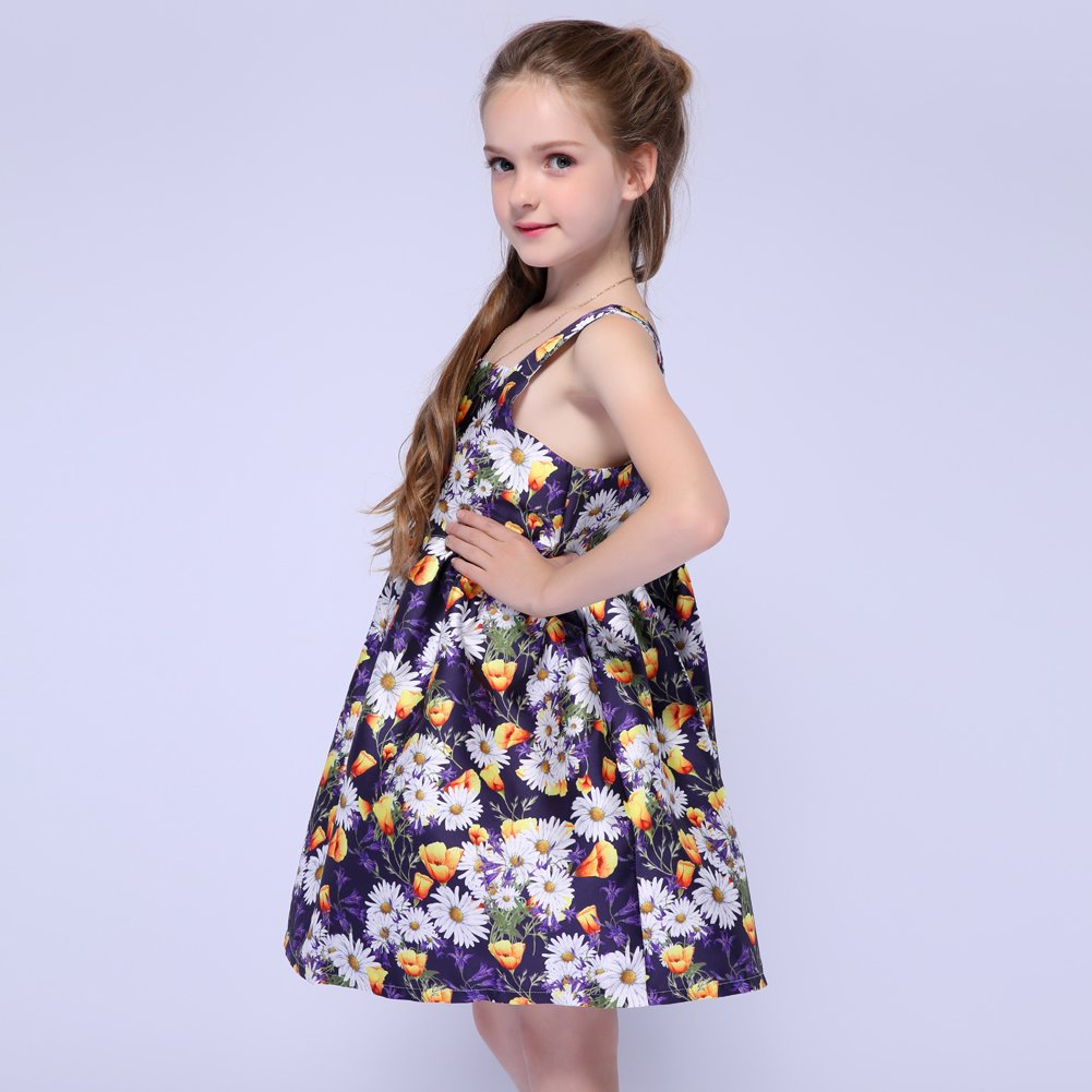 Kseniya Kids Big Little Girls Shoulder Strap Dresses Organza Girl Flower Dress