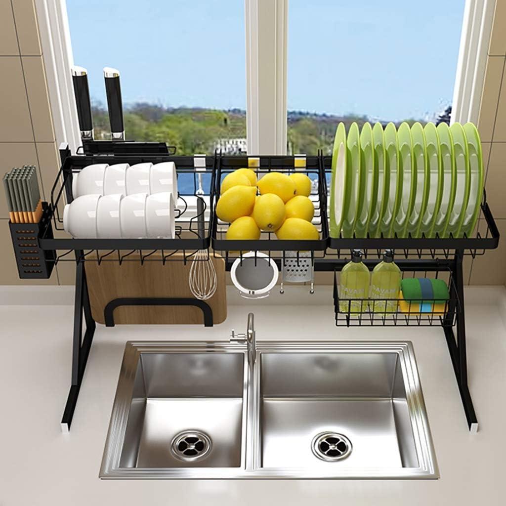 棚皿乾燥ラック、黒のステンレス製水切りディスプレイ棚、調理器具ホルダー付きカウンタートップスペースセーバー食器オーガナイザー