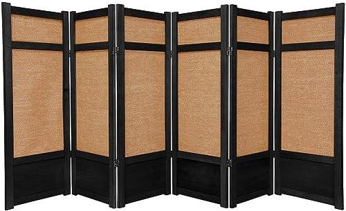 Oriental Furniture 4 ft. Tall Low Jute Shoji Screen – 6 Panel – Black