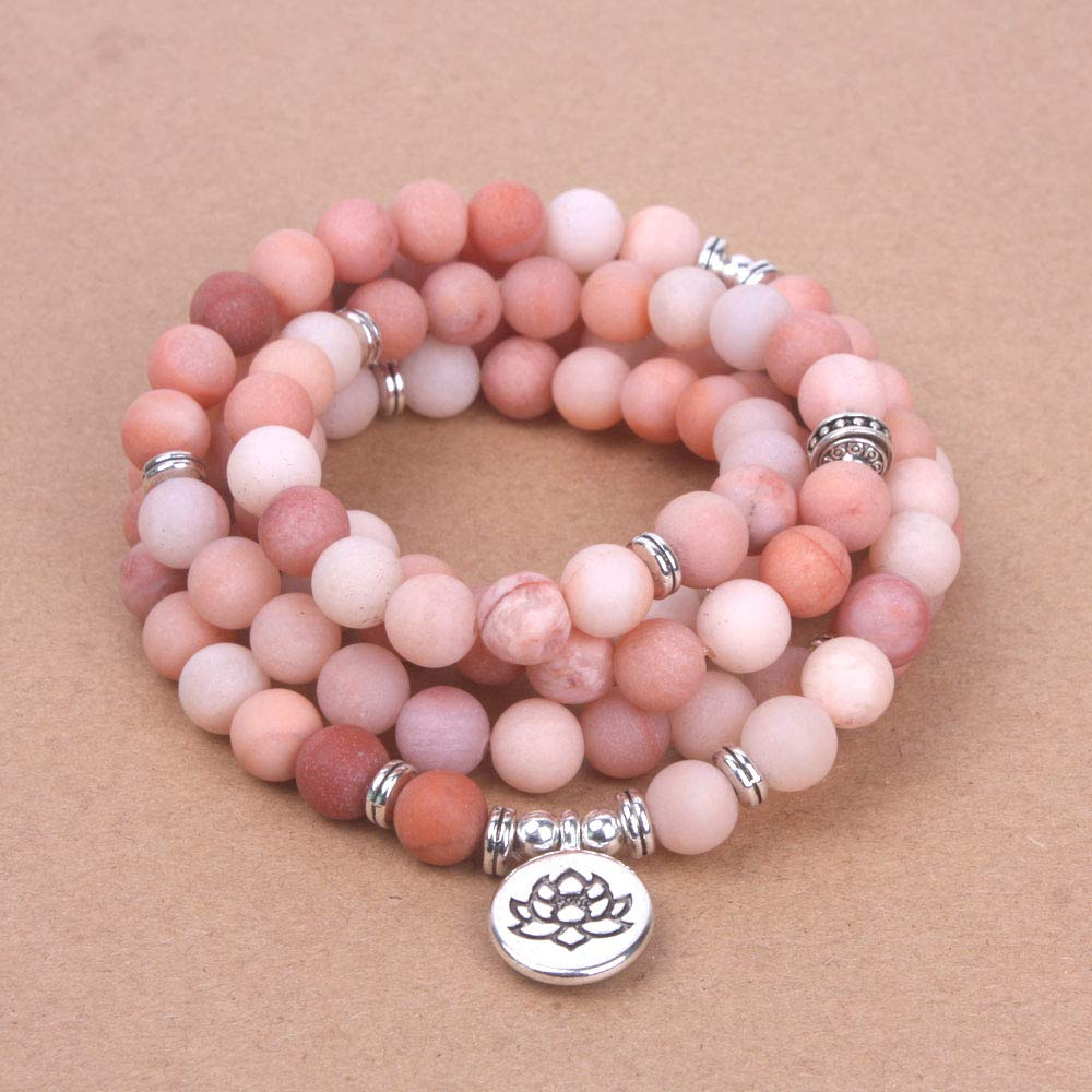 VT BigHome Pink natural stone Frosted mala bracelet elasticity OM,Lotus, Buddha Charm Bracelet for women yoga necklace