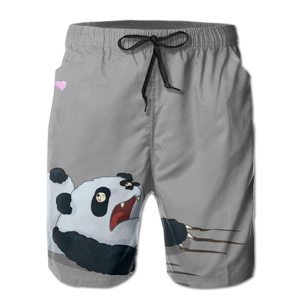 Mens Funny Girl Love Panda Pattern Shorts Elastic Waist Pockets Lightweight Beach Shorts Boardshort