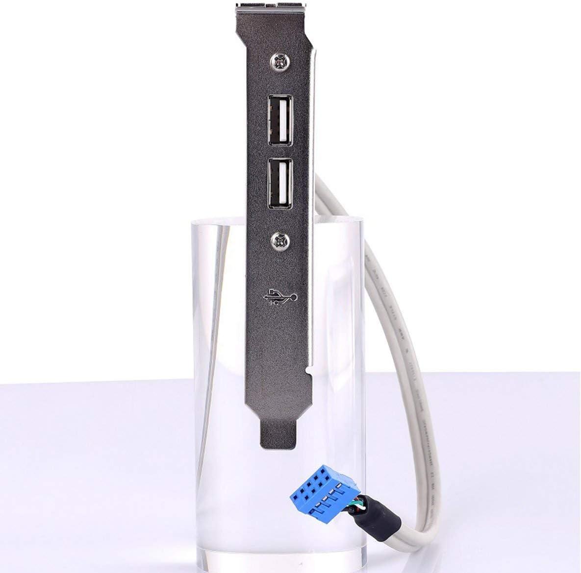 Blanco nbvmngjhjlkjlUK Bisel Trasero USB de Dos Puertos Chasis de la computadora de Escritorio bit PCI USB 2.0 Cable de extensi/ón de la Placa Base Bisel de extensi/ón USB de Dos Puertos