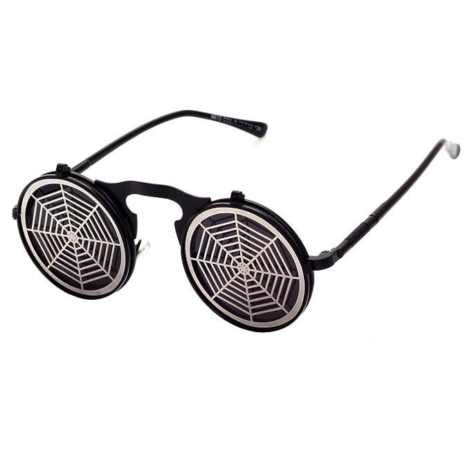 hibote Steam Punk Sunglasses Gothic Vintage personnalit¨¦ Clamshell Lunettes Homme Femme ronde en m¨¦tal Shades C16 0aiiN90