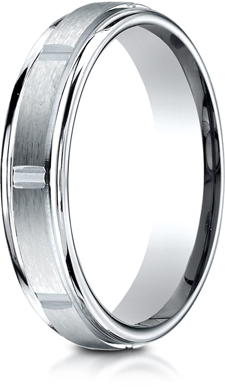 Benchmark Palladium 4mm Comfort-Fit Satin-Finish 8 High Polish Center Cuts and Round Edge Band, Size 7.5