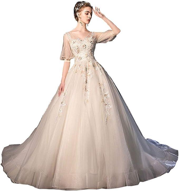 Amazon Hanamaya 五分袖 ウェディングドレス 花嫁ドレス 妊娠ドレス
