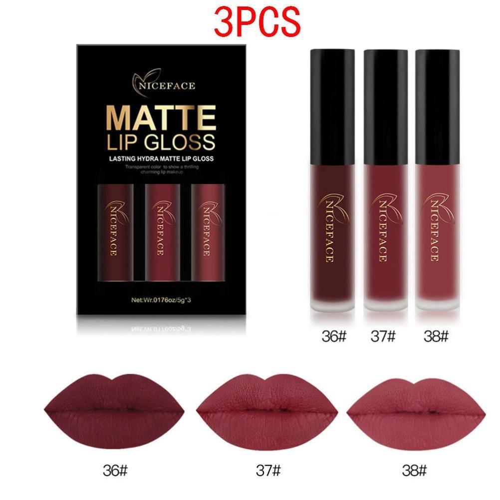 Amazon.com : LANDFOX 3PCS Waterproof Matte Liquid Lipstick Cosmetic Sexy Lip  Gloss Kit (B) : Beauty