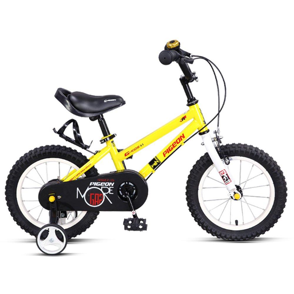 14/16インチ高炭素鋼フレームバイク、2-6歳のベビーベビーペダルベビーカー、子供用自転車 ( 色 : イエロー いえろ゜ , サイズ さいず : 115*60cm ) B078KKV66T 115*60cm|イエロー いえろ゜ イエロー いえろ゜ 115*60cm