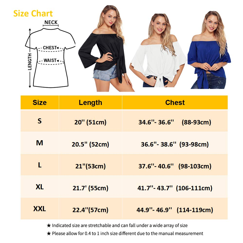 Chirps Women Off Shoulder Tank Tops T Shirts Short Bell Sleeves Casual Sexy Tee Front Tie Knot Blouses