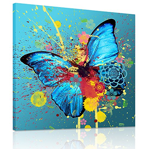 Visual Art Decor Canvas Prints,Abstract Blue Beautiful Butterfly, Modern Painting Picture Printed On Canvas Wall Art Home Decor Prints Ready to Hang (20