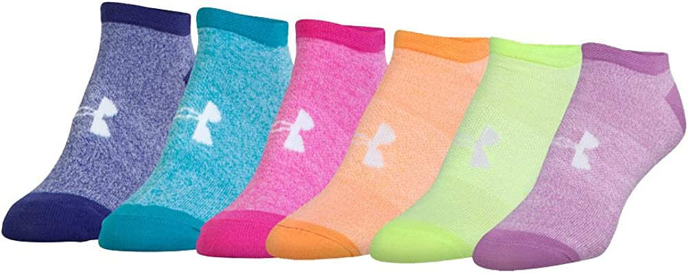 Pack of 6 Under Armour Girls Solid 6pks Noshow Socks