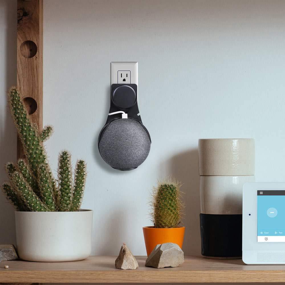 LHKJ Supporto per Google Home Mini,Supporto per Montaggio a Parete Home Voice Assistants,Nero