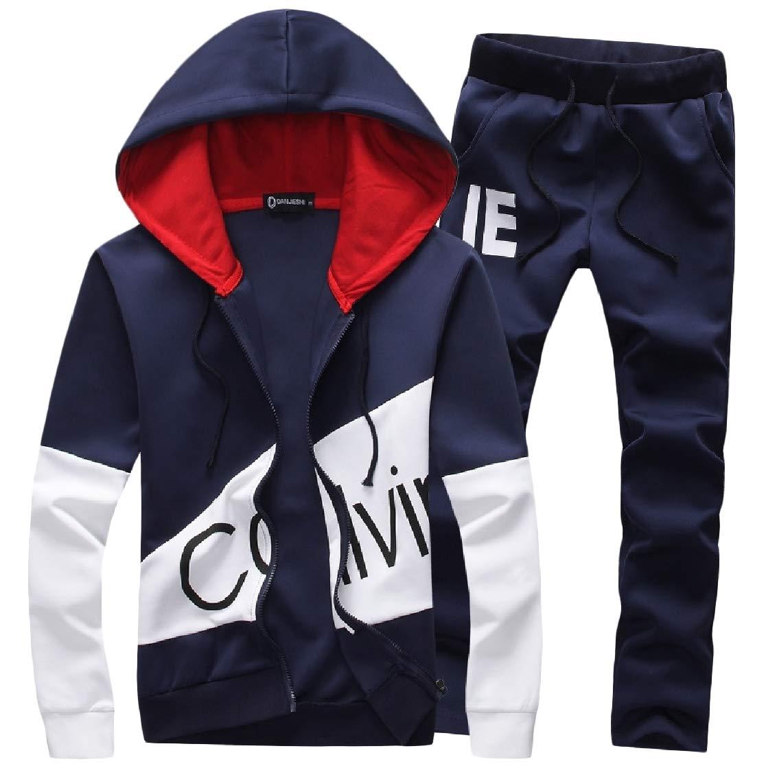 Joe Wenko Men Slim Fit Two Pieces Sports Trousers Hoodie Coat Tracksuit Set