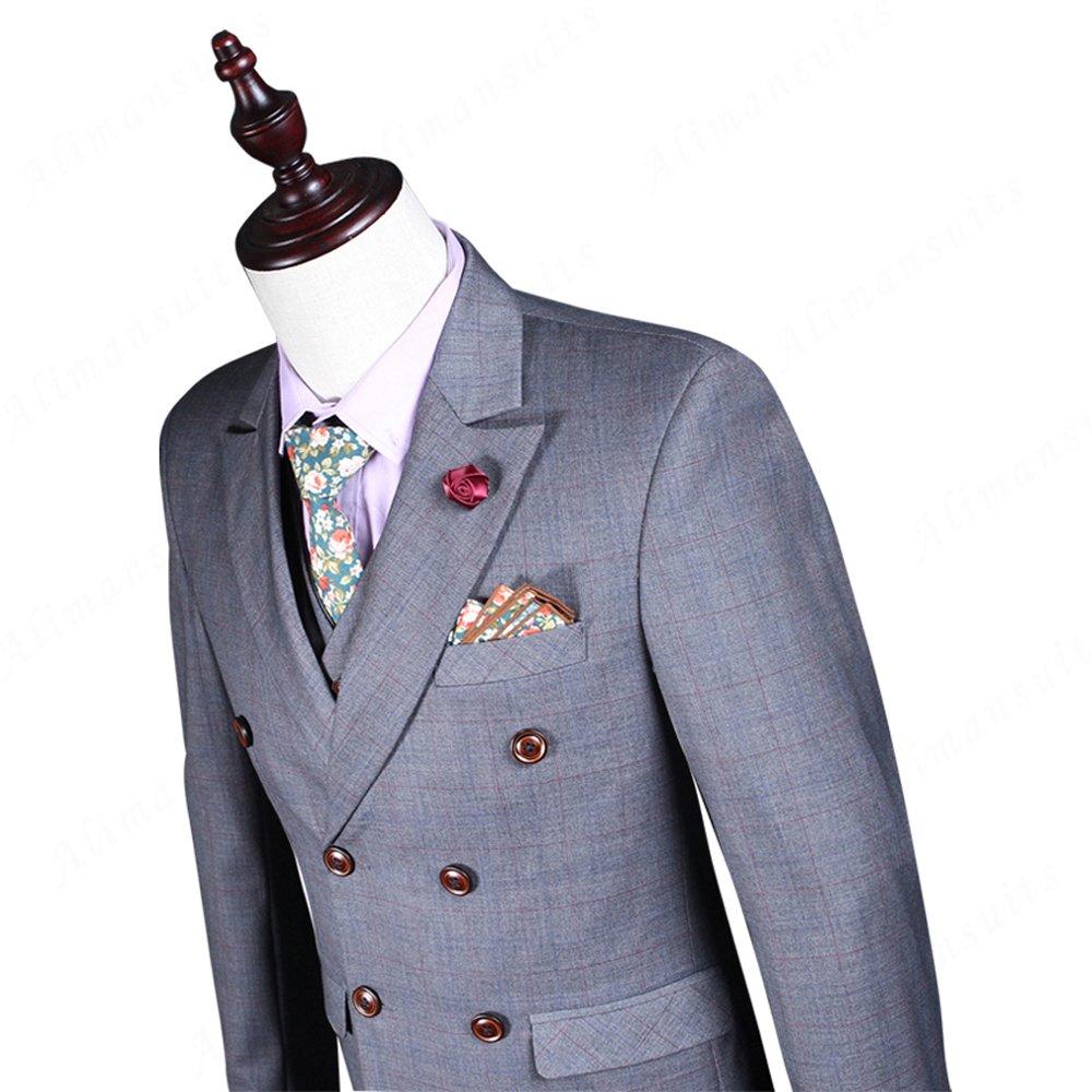 e8eebb31ed 2018 3 Suit Men's Grey Suits Men Stage Wear Clothing Men Slim Fit Shiny  Wedding Suit MA009 at Amazon Men's Clothing store: