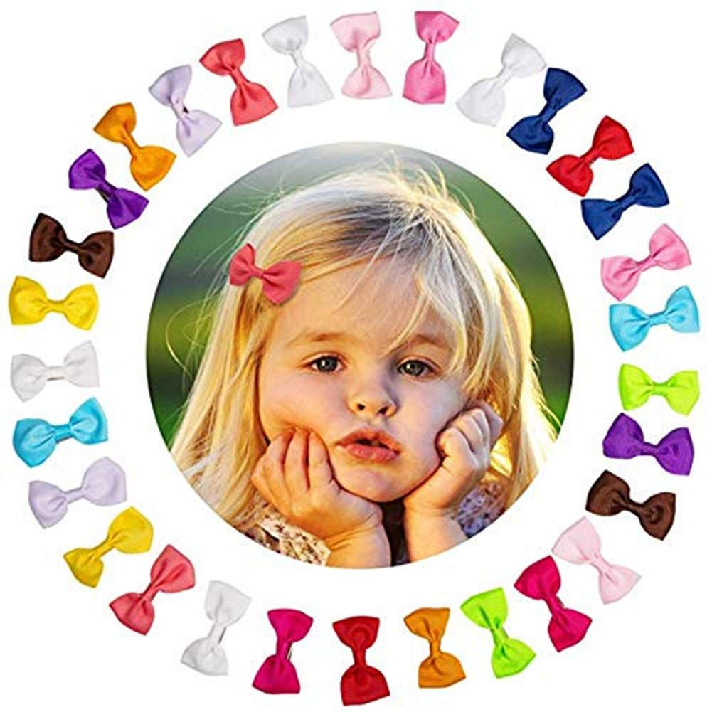 Oyfel 20PCS Mini Hair Bow Baby Girls Ribbon Hair Bows with Alligator Clips Barrettes for Girl Teens Kids Babies Toddlers