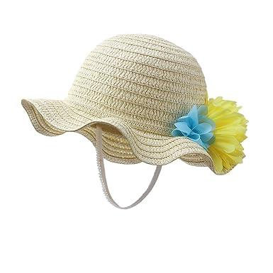f17b47a50934 Amazon.com  vivobiniya Baby Girl Flower Straw Hat Kid Beach Sun Protection Hats  0-6Years Old (49cm(Head Circumference 19.2in)  Clothing