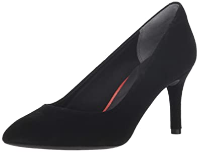 48c05b09d06f Rockport Women's Total Motion 75mm Pointy Toe Pump Black Kid Suede ...