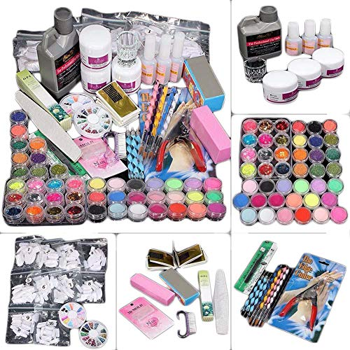 (Hennta Nail Care Sets, 42 in 1 Combo Full Acrylic Nail Glitter Powder Nail Art Builder Decoration Tips Nail Cosmetology Tools Manicure Kit, Tip File Brush Dotting Pen Kit Tweezer Clipper Block)