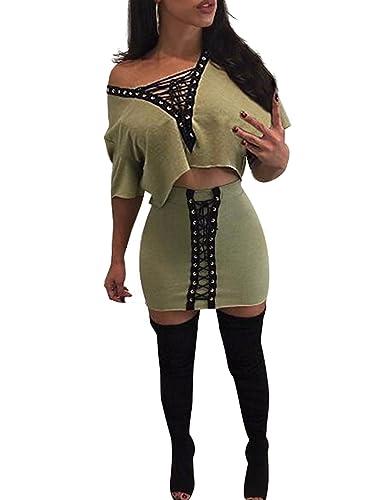 EBUYTIDE Women's Sexy V Neck Lace Up 2 Pieces Dress Set Bodycon Club Wear